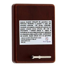 Quadro spiga grano calice uva in alluminio retro legno e rosario perle in vetro s3
