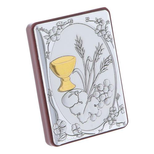 Quadro spiga grano calice uva in alluminio retro legno e rosario perle in vetro 2