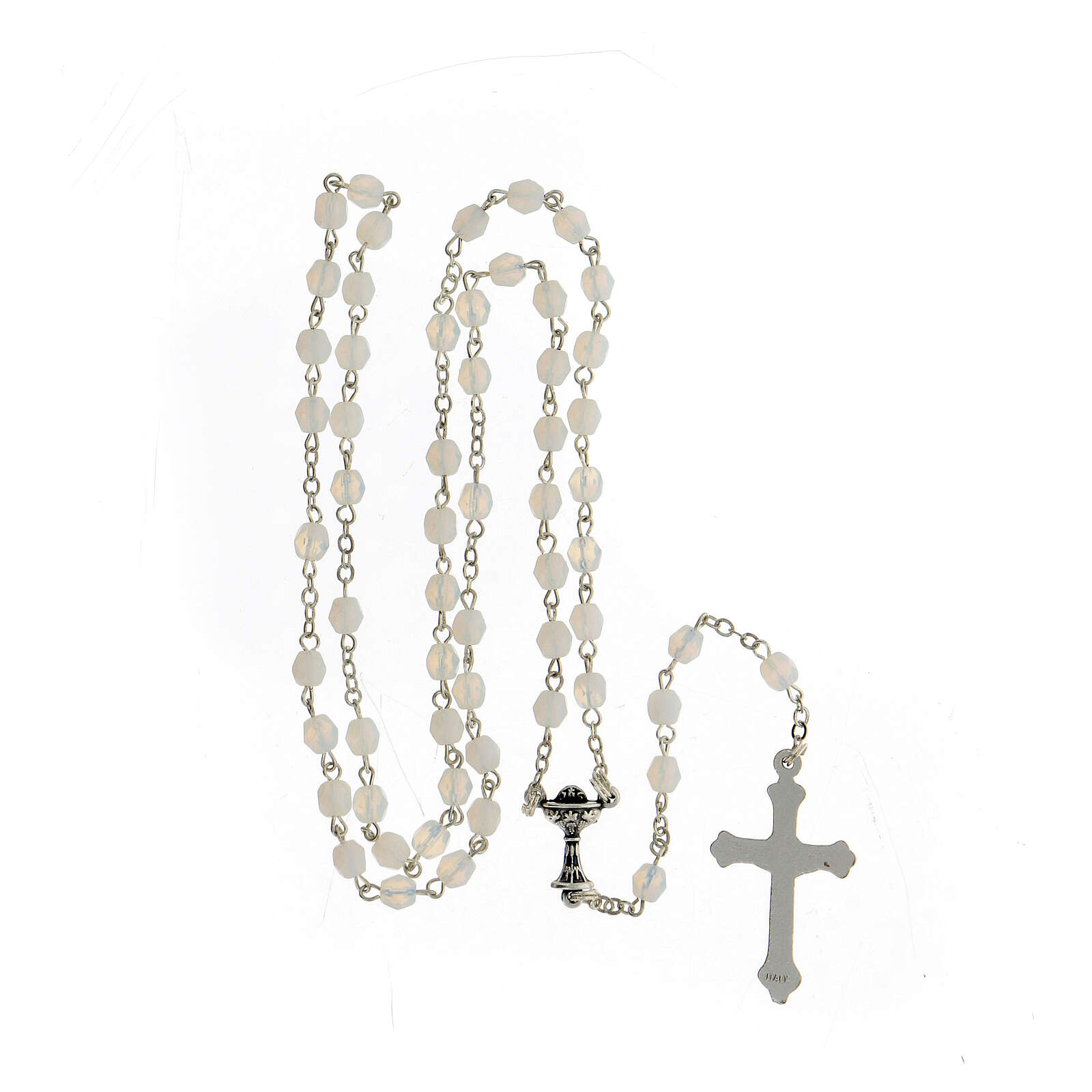 Wheat ear chalice and grapes painting in aluminium with wooden back and rosary composed by glass pearls 4
