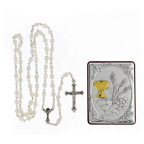 Wheat ear chalice and grapes painting in aluminium with wooden back and rosary composed by glass pearls 1