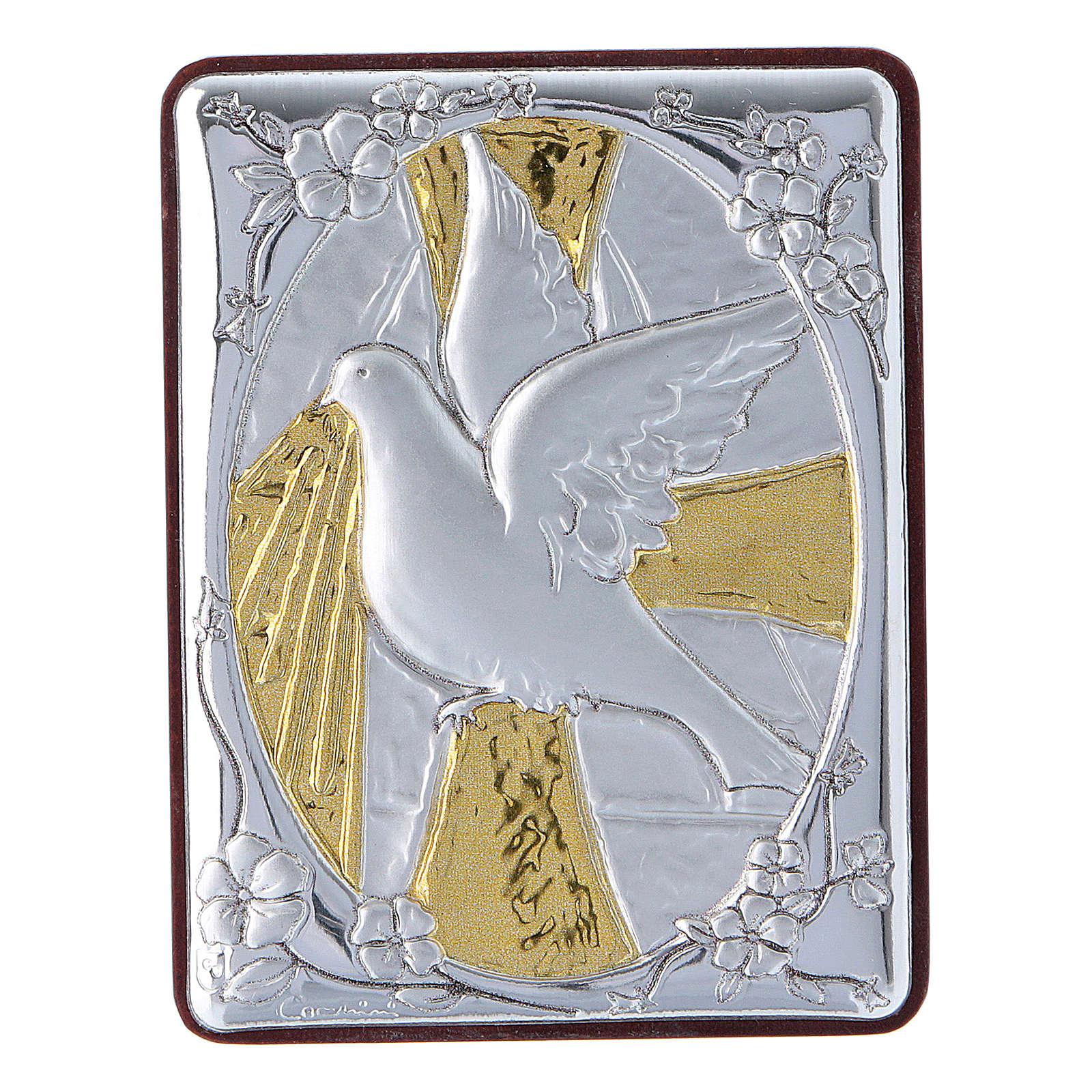 Quadro Colomba in alluminio con rosario bianco perle in vetro 4