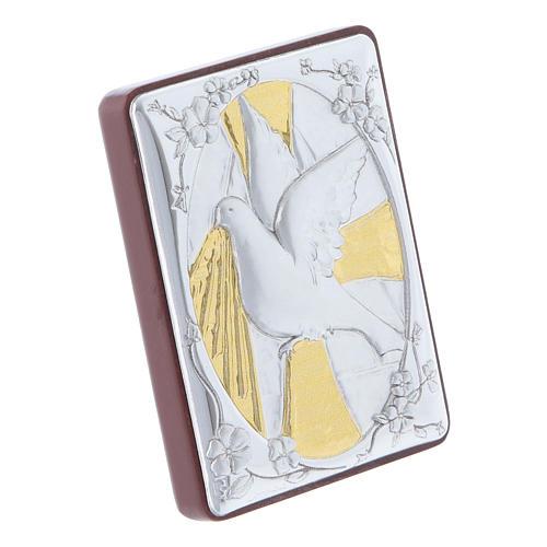 Quadro Colomba in alluminio con rosario bianco perle in vetro 2