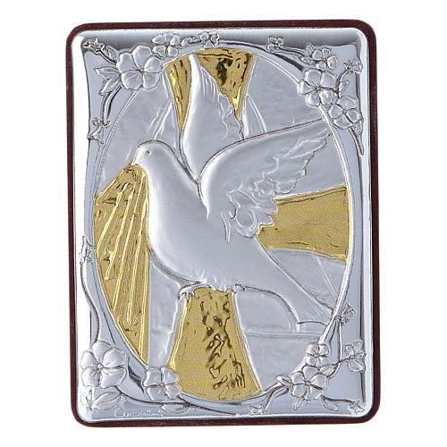 Quadro Colomba in alluminio con rosario bianco perle in vetro 1