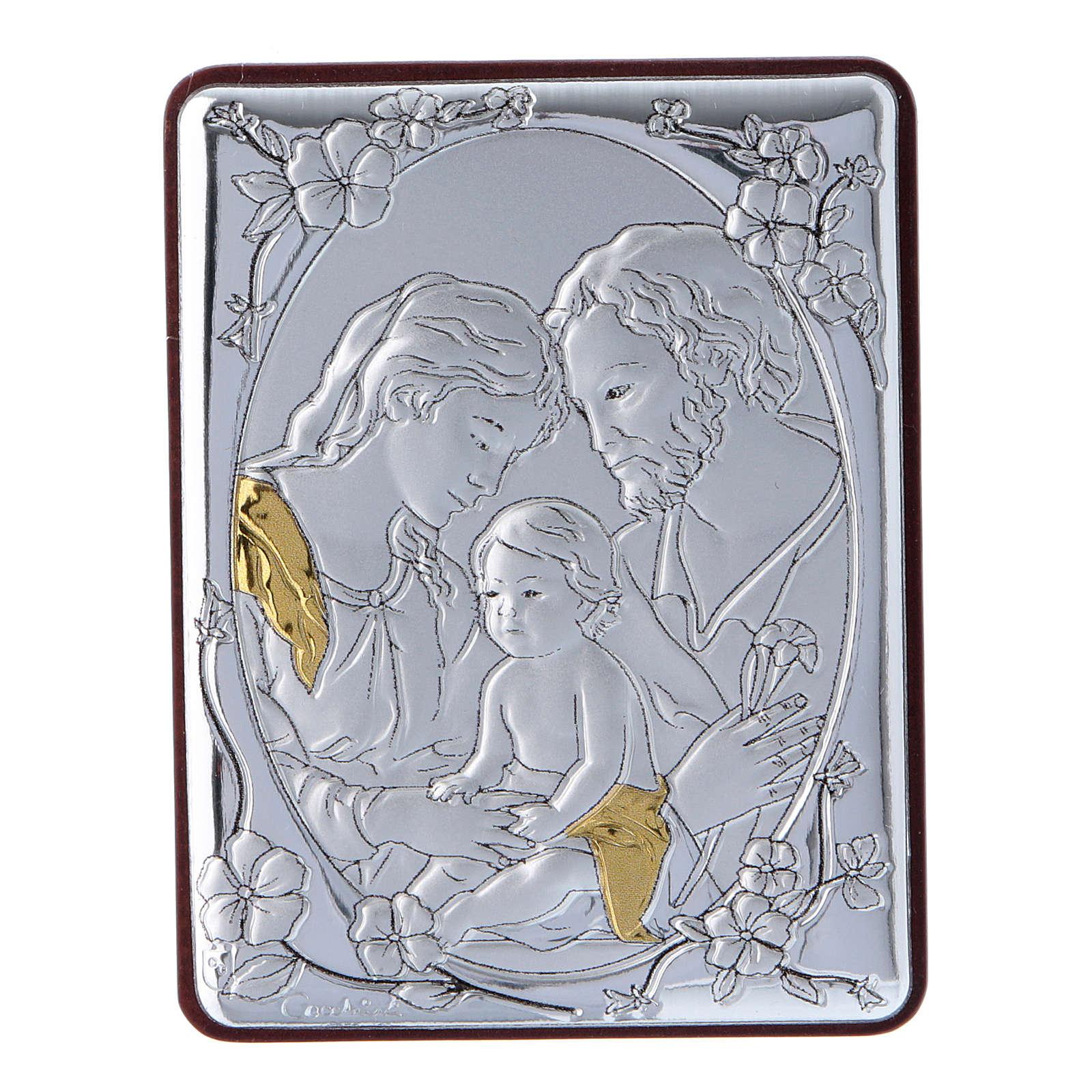 Quadro Sacra Famiglia in alluminio legno e rosario bianco perle in vetro  4