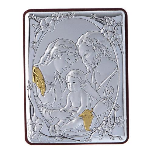 Quadro Sacra Famiglia in alluminio legno e rosario bianco perle in vetro  1
