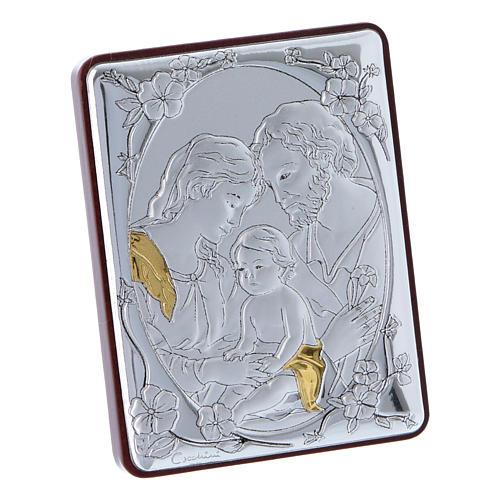 Quadro Sacra Famiglia in alluminio legno e rosario bianco perle in vetro  2