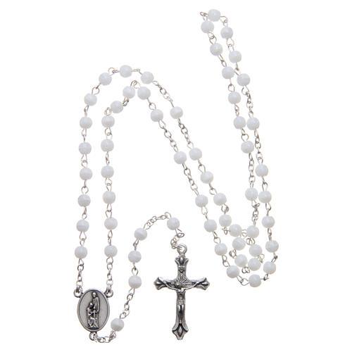 Quadro Sacra Famiglia in alluminio legno e rosario bianco perle in vetro  7