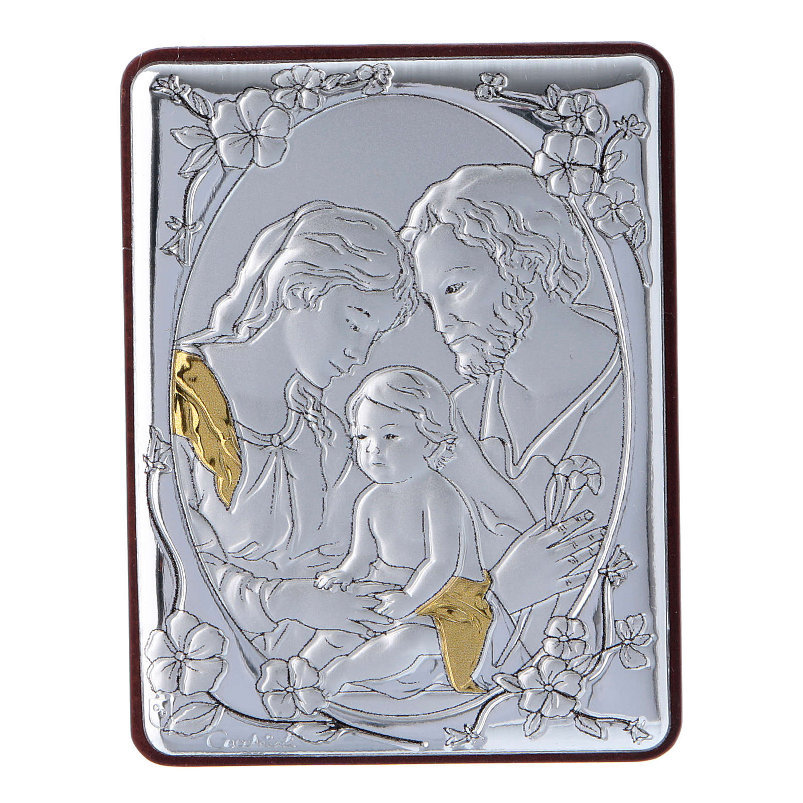 Holy Family painting in aluminium and wood and white rosary with glass pearls 4