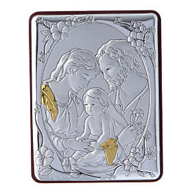 Holy Family painting in aluminium and wood and white rosary with glass pearls s1