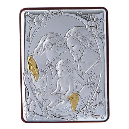 Holy Family painting in aluminium and wood and white rosary with glass pearls 1