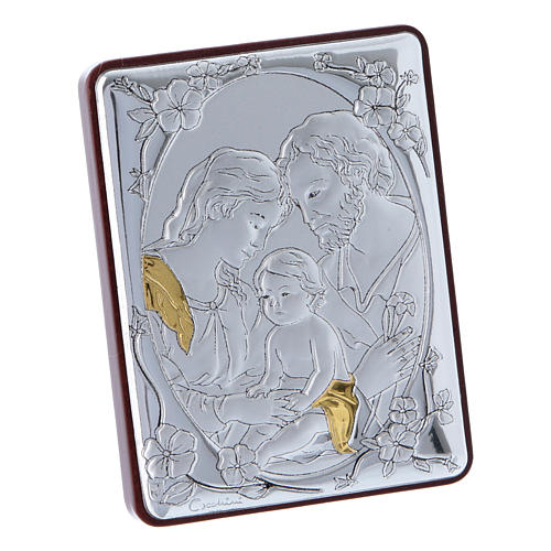 Holy Family painting in aluminium and wood and white rosary with glass pearls 2