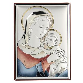 Bassorilievo bilaminato Madonna con bambino 11x8 cm s1