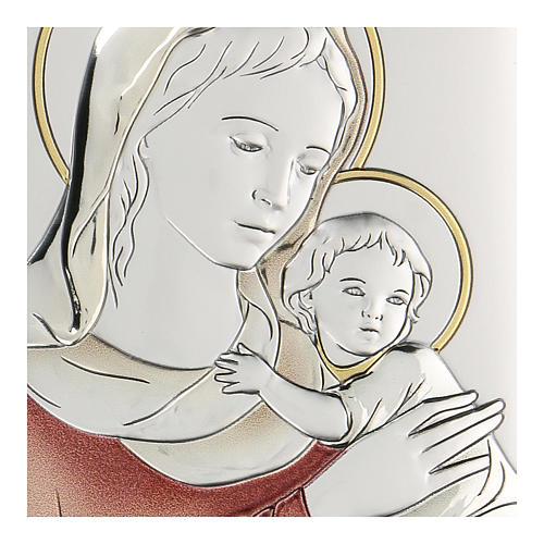 Bassorilievo bilaminato Madonna con bambino 11x8 cm 2