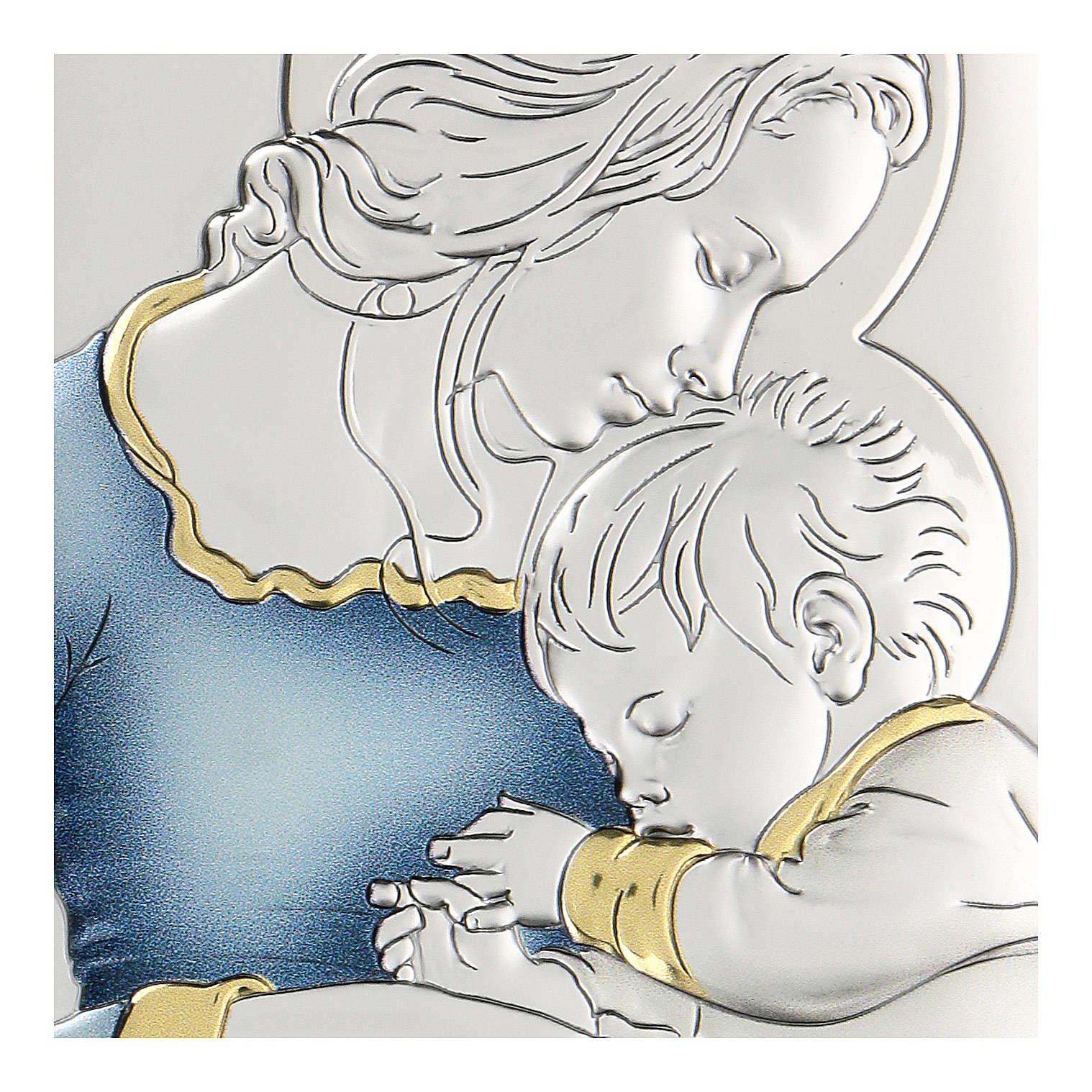 Bassorilievo bilaminato Madonna e Gesù bambino 11x8 cm 4