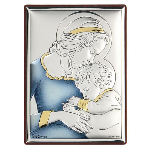 Bassorilievo bilaminato Madonna e Gesù bambino 11x8 cm 1
