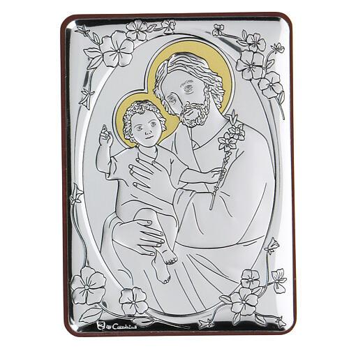 Flachrelief aus Bilaminat mit Sankt Joseph und Jesuskind, 10 x 7 cm 1