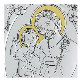 Bajorrelieve bilaminado San José con Niño Jesús 10x7 cm s2