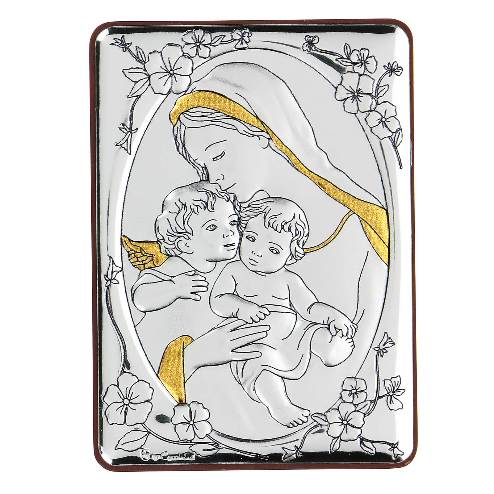 Bilaminate bas-relief Virgin Mary and Baby Jesus with angel 10x7 cm 4