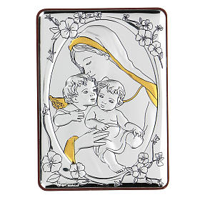 Bilaminate bas-relief Virgin Mary and Baby Jesus with angel 10x7 cm s1