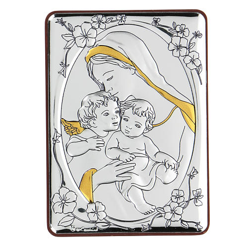 Bilaminate bas-relief Virgin Mary and Baby Jesus with angel 10x7 cm 1