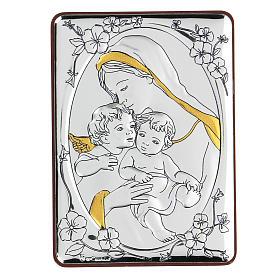 Bajorrelieve bilaminado Virgen Niño Jesús y angelito 10x7 cm s1