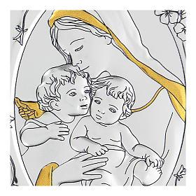 Bajorrelieve bilaminado Virgen Niño Jesús y angelito 10x7 cm s2