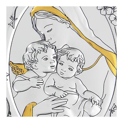Bajorrelieve bilaminado Virgen Niño Jesús y angelito 10x7 cm 2