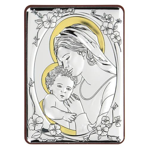 Bassorilievo bilaminato Maria Vergine e Gesù bambino 10x7 cm 1