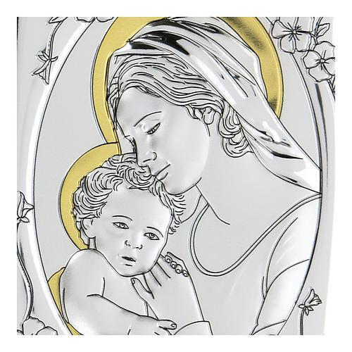 Bassorilievo bilaminato Maria Vergine e Gesù bambino 10x7 cm 2