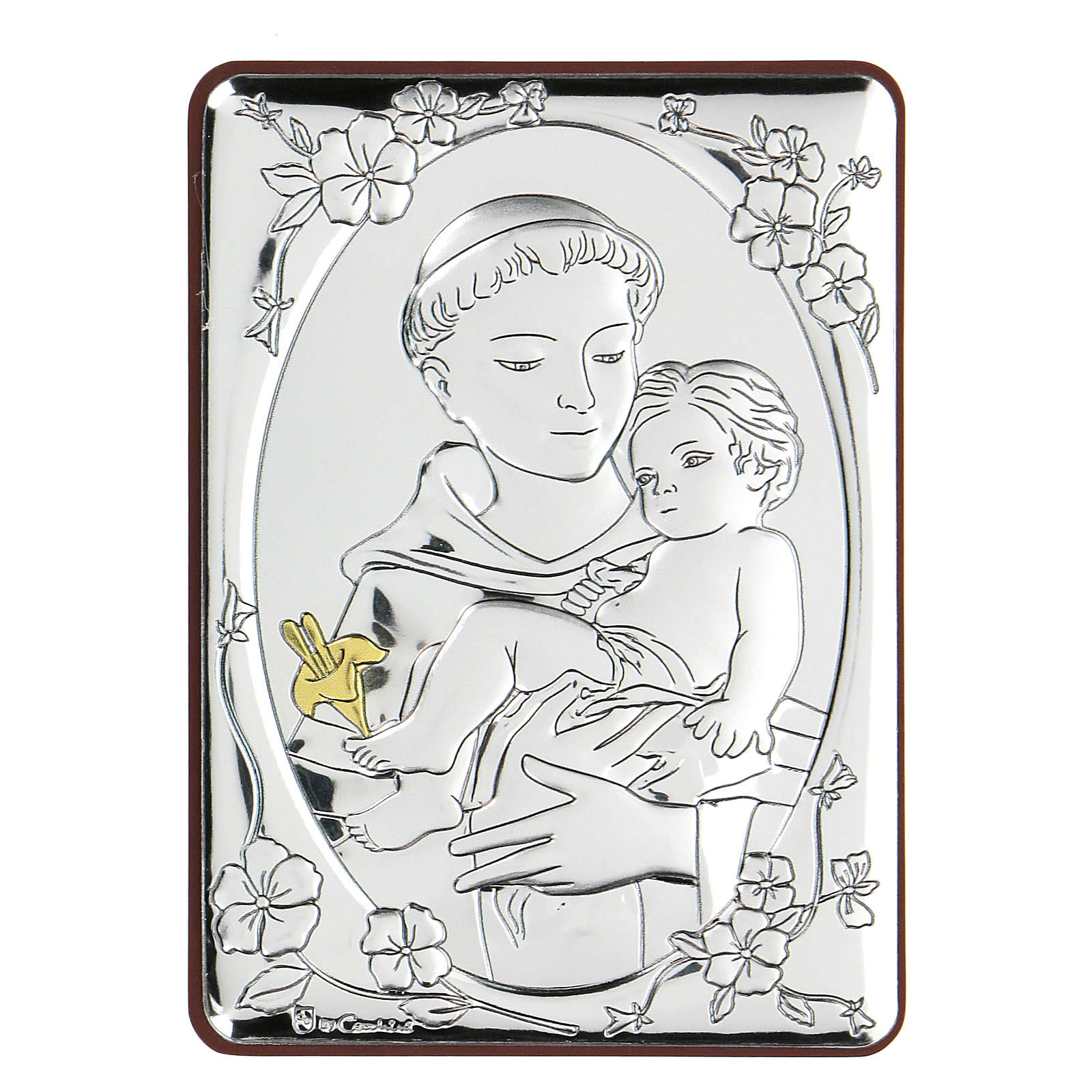 Bas-relief in bilaminate silver St. Francis with child 10x7 cm 4