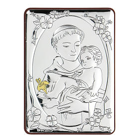 Bas-relief in bilaminate silver St. Francis with child 10x7 cm s1