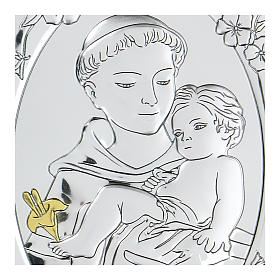 Bas-relief in bilaminate silver St. Francis with child 10x7 cm s2