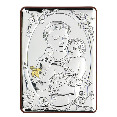 Bas-relief in bilaminate silver St. Francis with child 10x7 cm 1