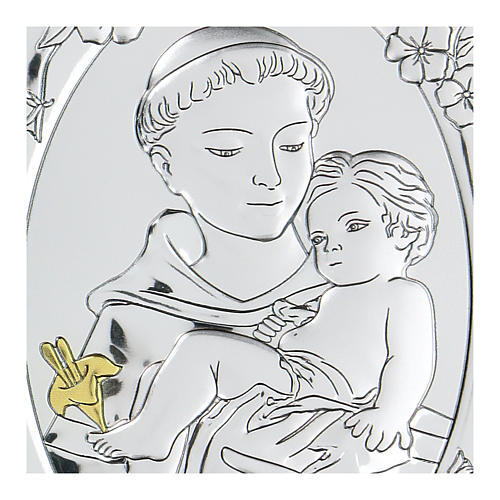 Bas-relief in bilaminate silver St. Francis with child 10x7 cm 2