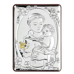 Bassorilievo bilaminato San Francesco con bambino 10x7 cm s1