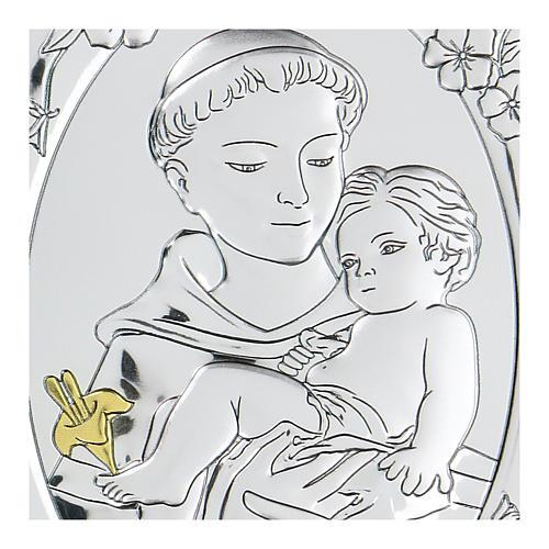 Bassorilievo bilaminato San Francesco con bambino 10x7 cm 2