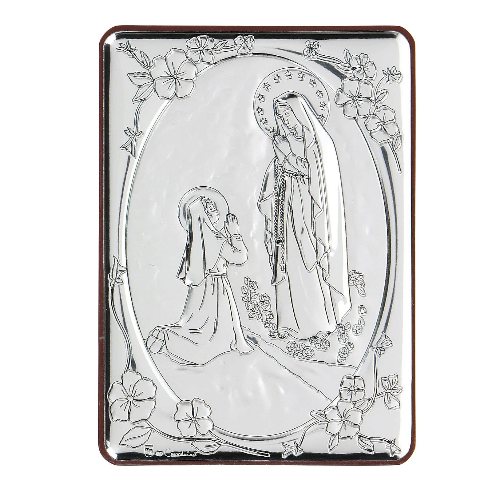 Bas-relief in bilaminate silver Our Lady of Lourdes 10x7 cm 4