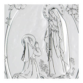 Bas-relief in bilaminate silver Our Lady of Lourdes 10x7 cm s2