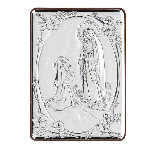 Bas-relief in bilaminate silver Our Lady of Lourdes 10x7 cm 1