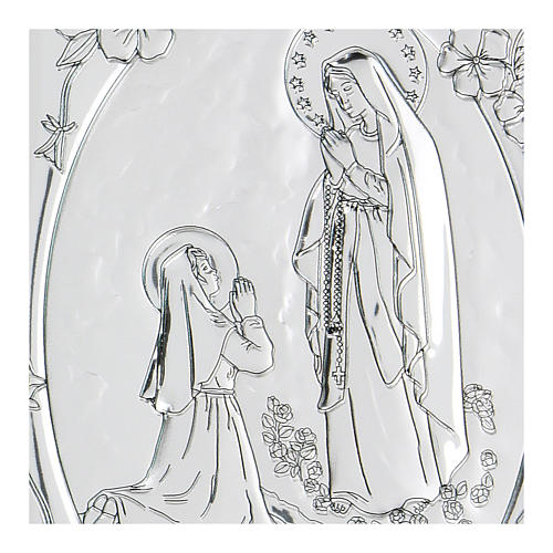 Bas-relief in bilaminate silver Our Lady of Lourdes 10x7 cm 2
