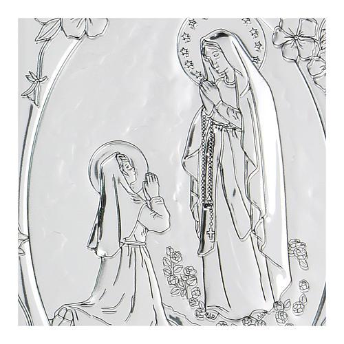 Bajorrelieve bilaminado oración Virgen de Lourdes 10x7 cm 2