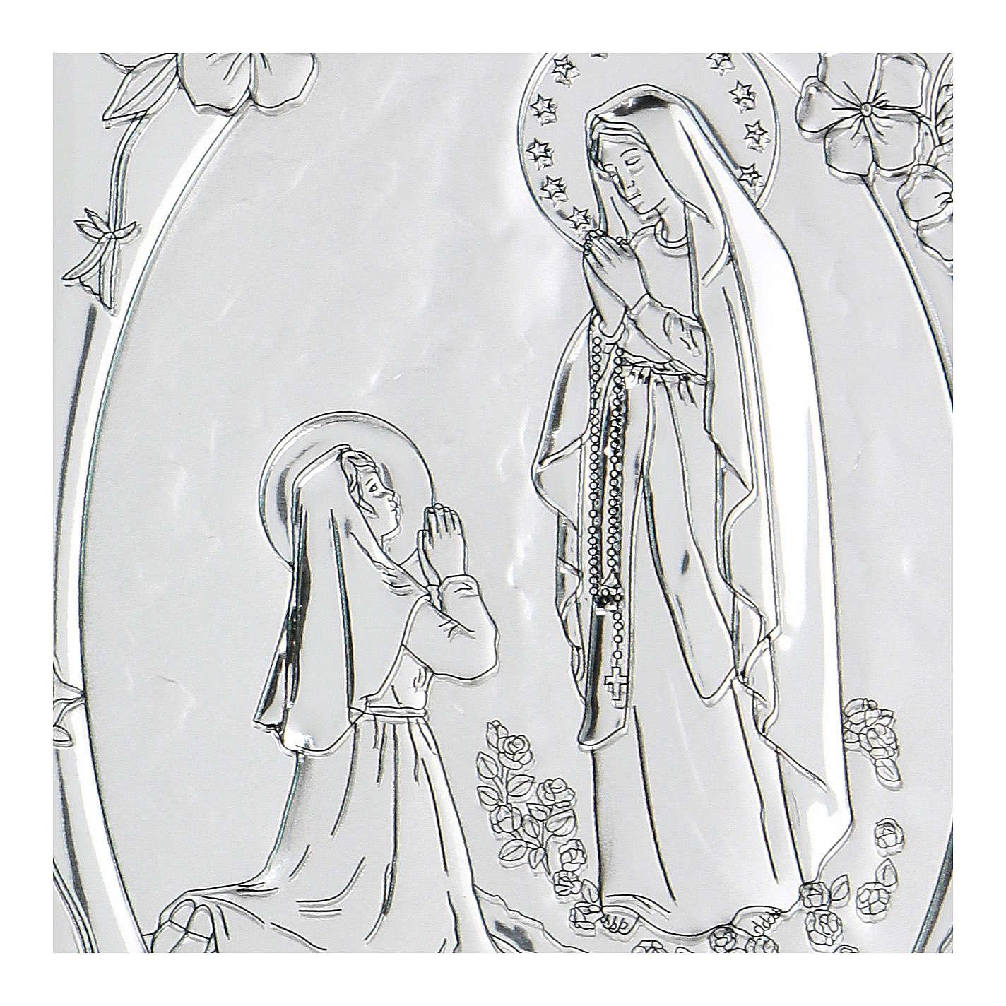 Bassorilievo bilaminato preghiera Madonna di Lourdes 10x7 cm 4