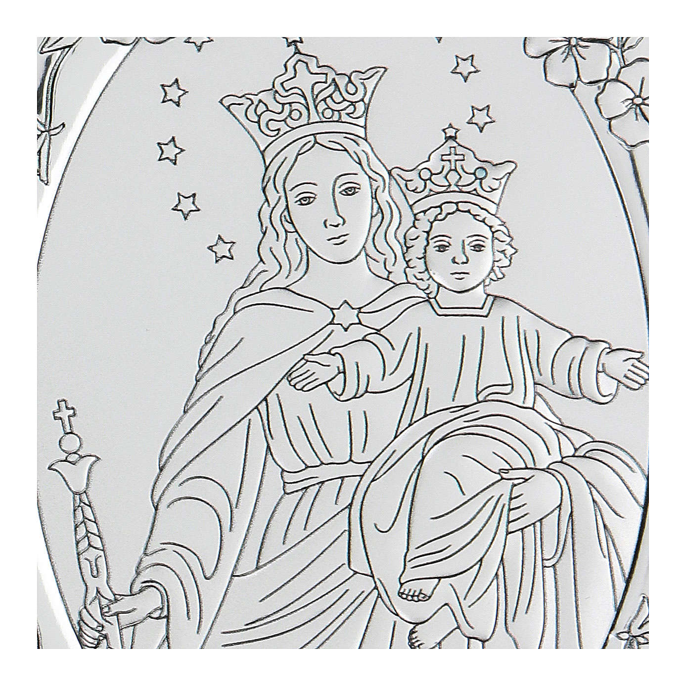 Bas-relief in bilaminate silver Our Lady of Succour 10x7 cm 4