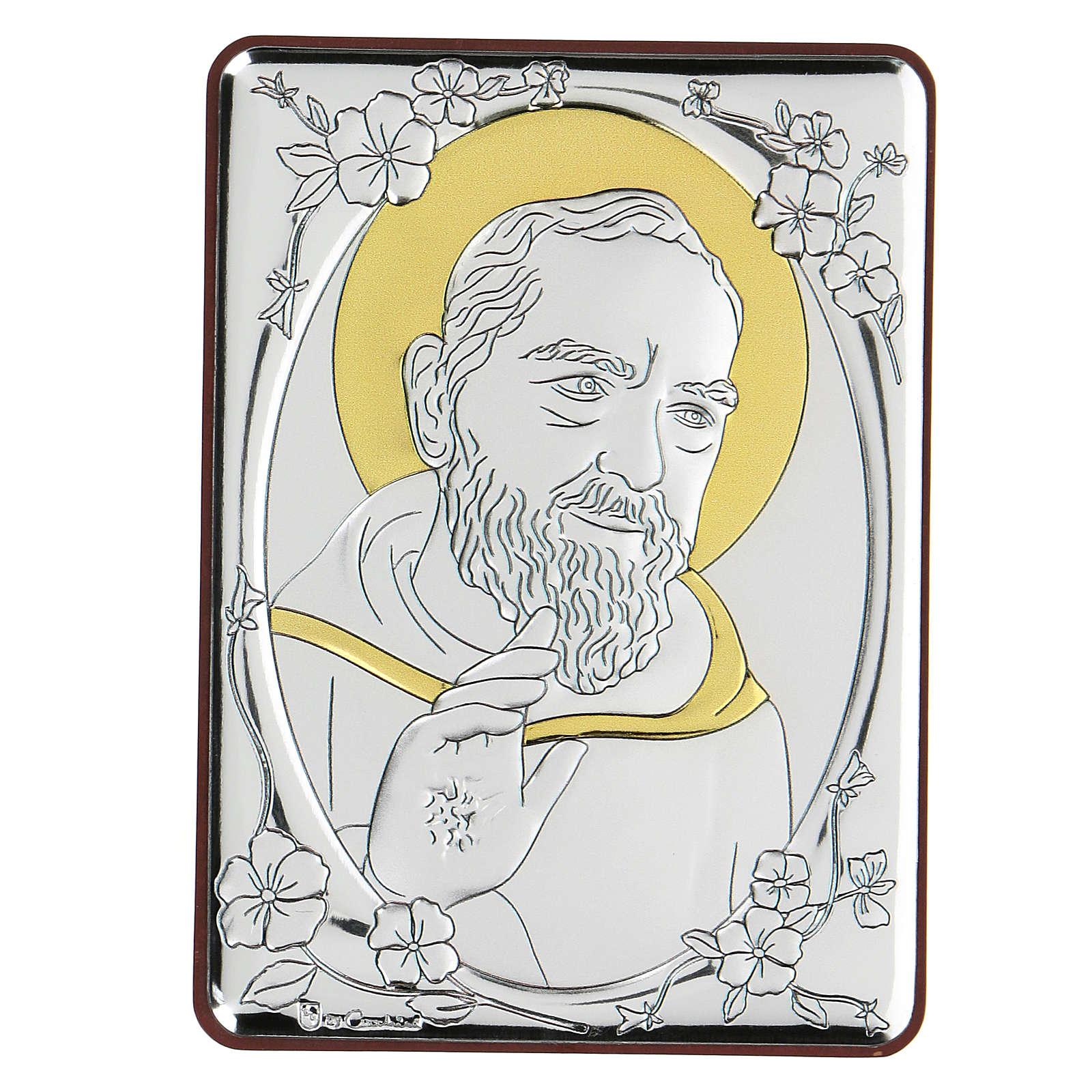 Bassorilievo bilaminato Santo Padre Pio 10x7 cm 4
