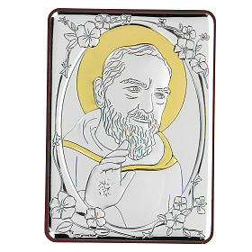 Bassorilievo bilaminato Santo Padre Pio 10x7 cm s1