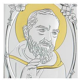 Bassorilievo bilaminato Santo Padre Pio 10x7 cm s2