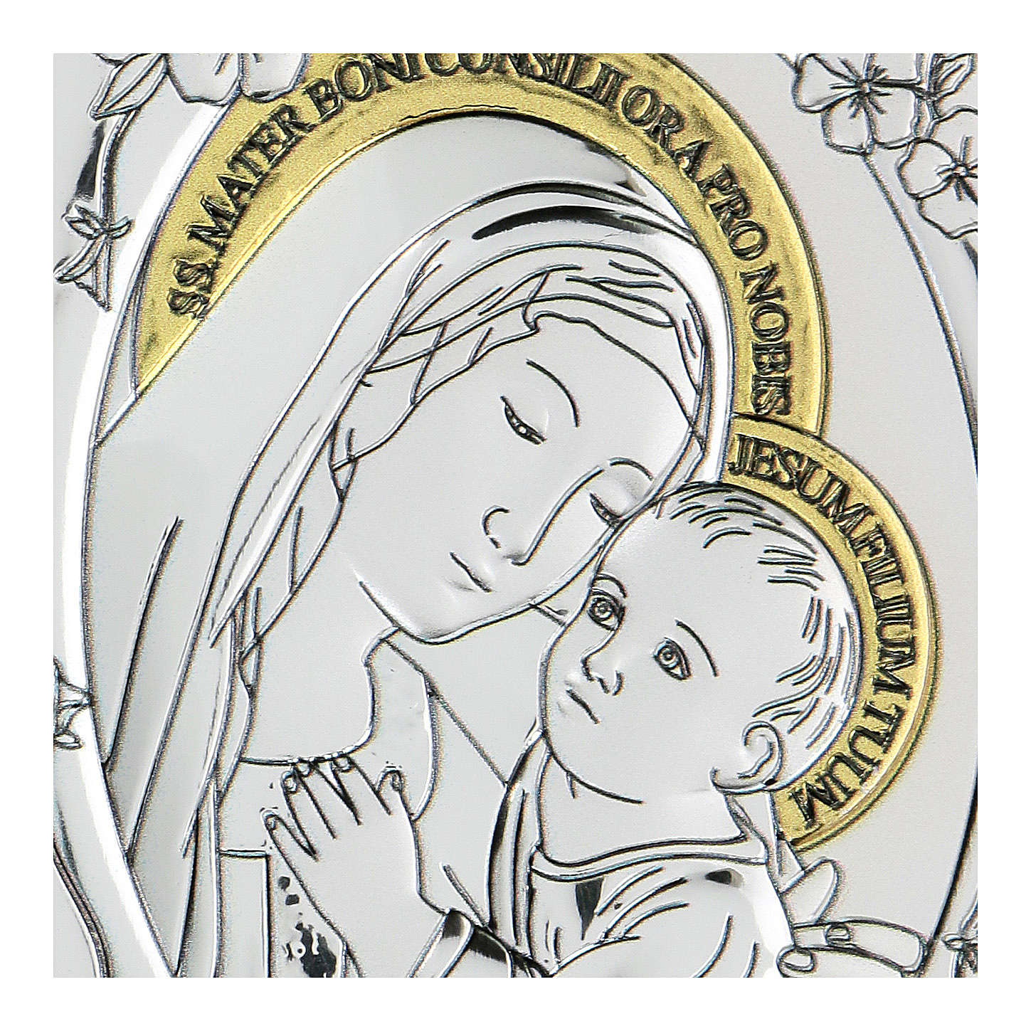 Bas-relief in bilaminate silver Our Lady of Good Counsel 10x7 cm 4