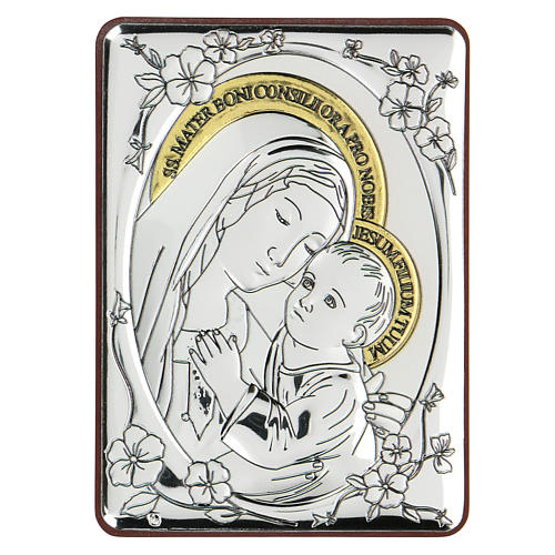 Bas-relief in bilaminate silver Our Lady of Good Counsel 10x7 cm 1