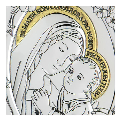 Bas-relief in bilaminate silver Our Lady of Good Counsel 10x7 cm 2