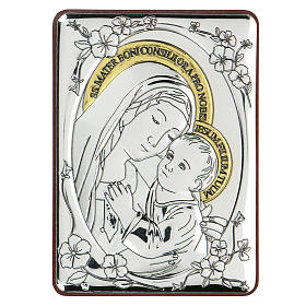 Bassorilievo bilaminato Madonna buon consiglio 10x7 cm s1
